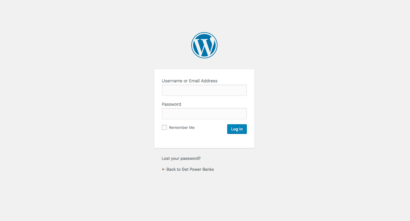 default wordpress login