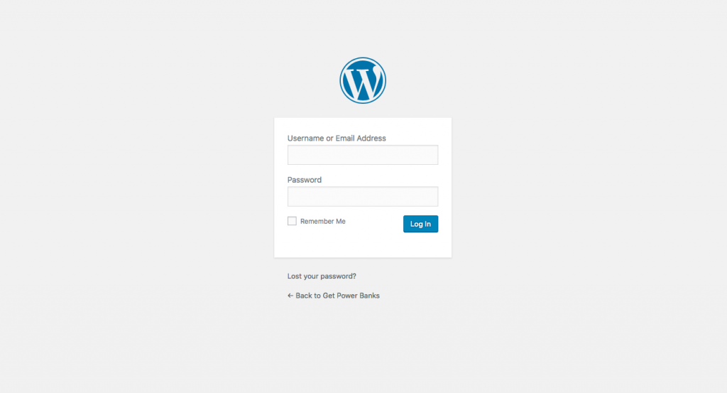 WordPress default login logo