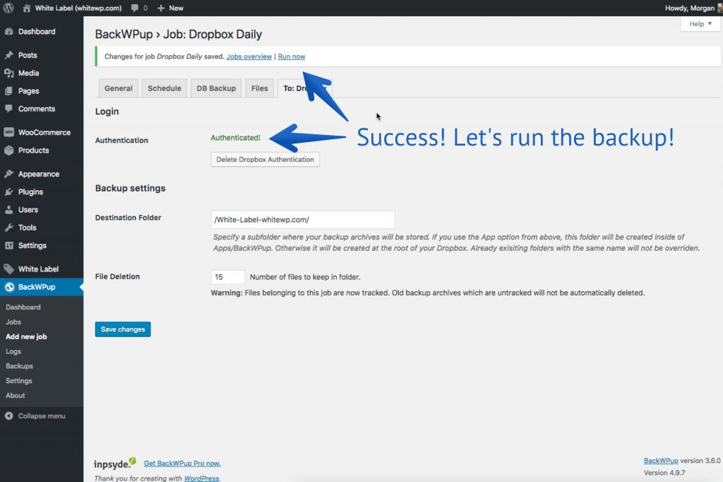 Dropbox authenticate WordPress
