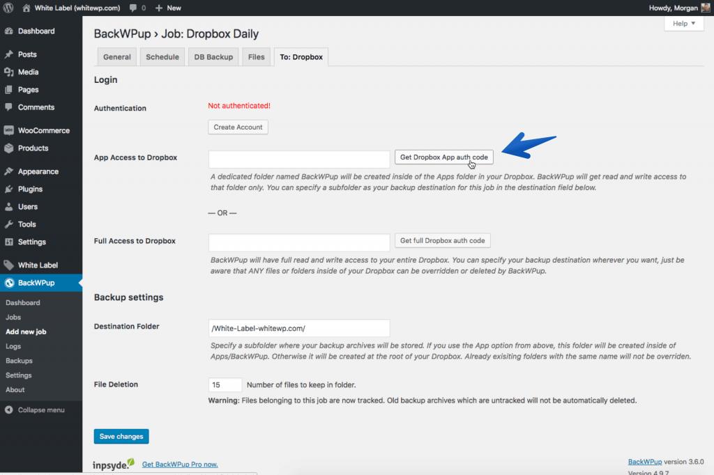 WordPress Dropbox Backup auth