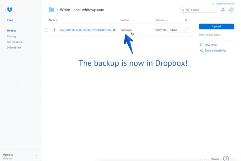 WordPress ZIP file backup to Dropbox