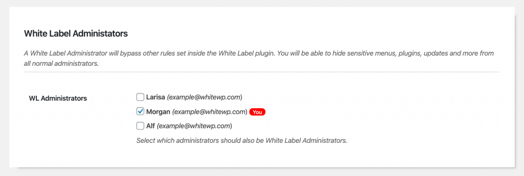 White Label Administrators inside the White Label plugin for WordPress