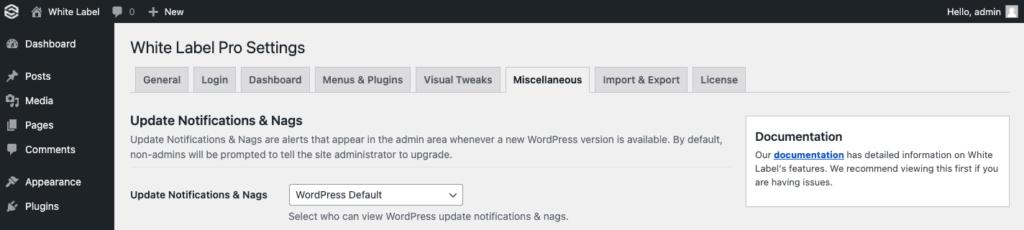 White Label Pro Update Nags Screenshot
